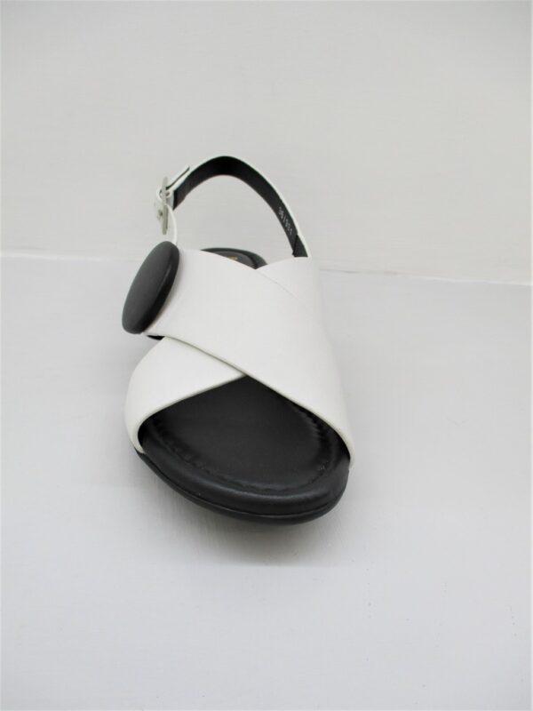 Sandalo pelle donna Barracuda's Bianco/Nero 0502